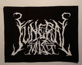 Funeral mist patch white logo black metal