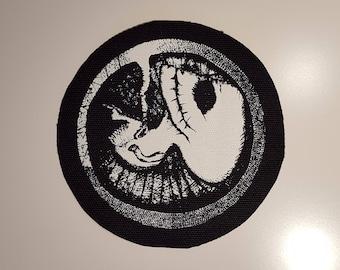 Rudimentary peni round patch goth post punk death rock anarcho punk