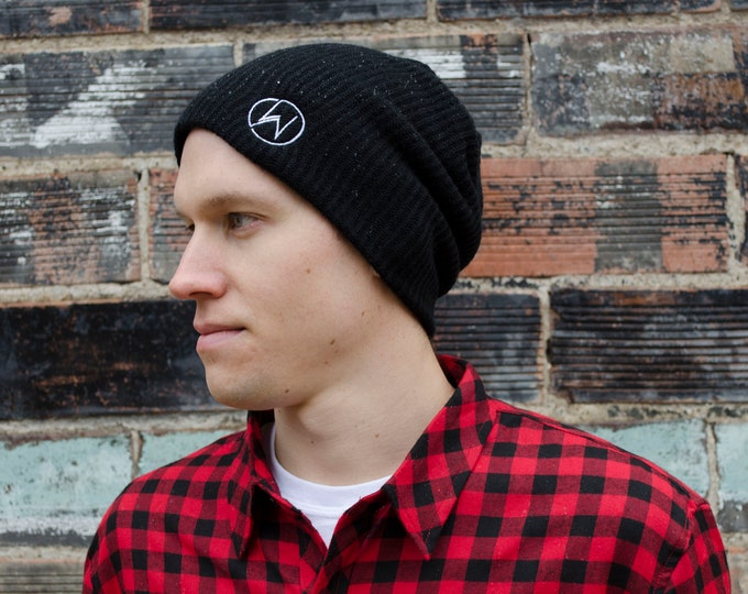 Men's Black Beanie with White Embroidered Logo