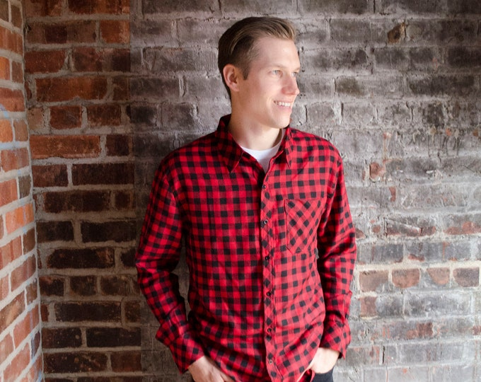 Men's Flannel with Embroidered Back Logo