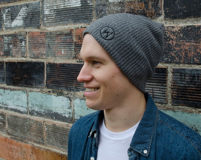 Men's Gray Beanie with Black Embroidered Logo