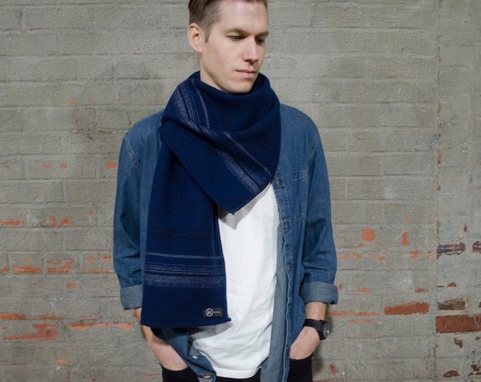 Men's 100% Wool Scarf- Navy Combo