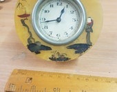 stunning 1930s vintage art deco plastic bakelite hand painted artist clock piece parts unusual craft item
