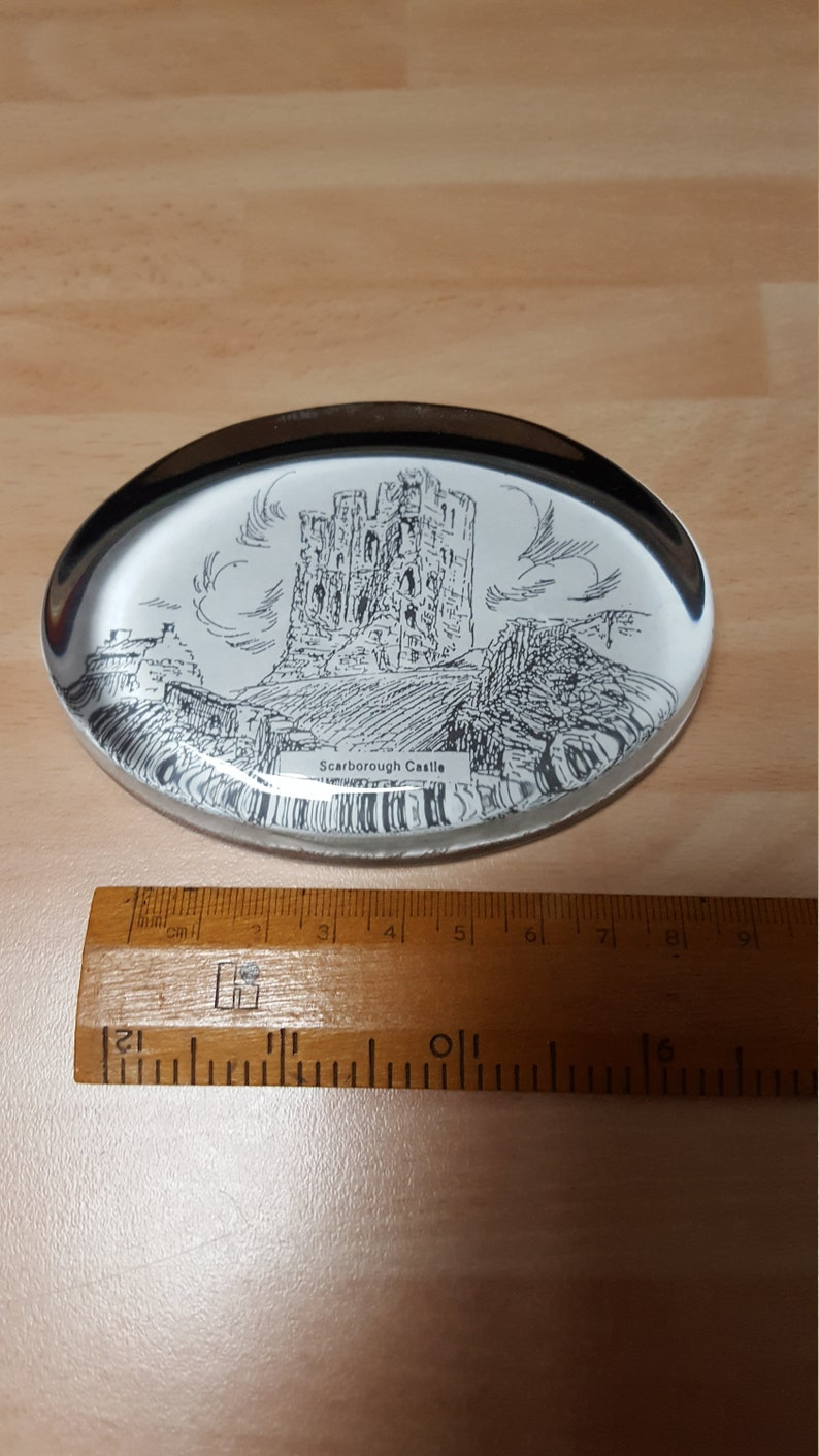 vintage kitsch scarborough castle yorkshire paperweight 1950s office boho retro british history