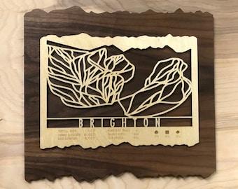 Brighton Ski Map Art Gift for Skiers & Snowboarders - Utah Ski Art-Ski Décor - Skiing Wall Art for your Brighton Ski House