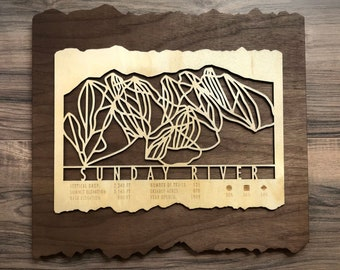 Sunday River Ski Map Art Gift for Skiers & Snowboarders - Sunday River Maine Ski Art-Ski Decor-Mountain Art for your Ski House