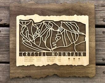 Crystal Mountain Ski Map Art Gift for Skiers & Snowboarders - Crystal Mountain WA Ski Art-Ski Décor-Skiing Wall Art for your Ski House