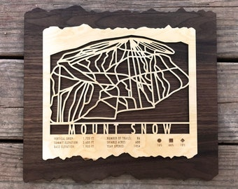 Mount Snow Ski Decor Map Art Gift for Skiers & Snowboarders - Vermont Ski Art-Ski Décor - Skiing Wall Art for your Mount Snow Ski House