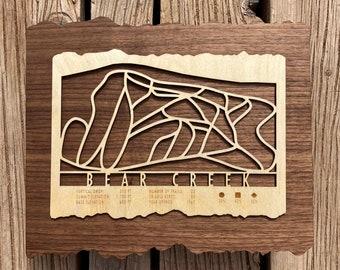 Bear Creek Ski Decor Trail Map Ski Art for Skiers & Snowboarders - Ski Gift for Ski House
