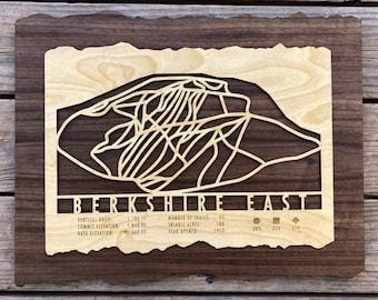 Berkshire East Ski Decor Map Art Gift Skiing Snowboarding - Massachusetts Ski Art Skiing Wall Art for your Berkshire Ski House Ski Lodge