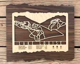 Lake Louise Canada Ski Map Art Gift for Skiers & Snowboarders - Lake Louise Ski Art-Ski Decor-Skiing Wall Art for your Ski House