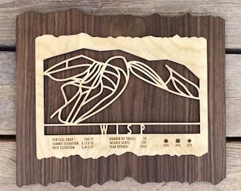 Wisp Ski Decor Map Art Gift for Skiers & Snowboarders - Wisp Maryland Ski Art-Skiing Mountain Art for your Ski House