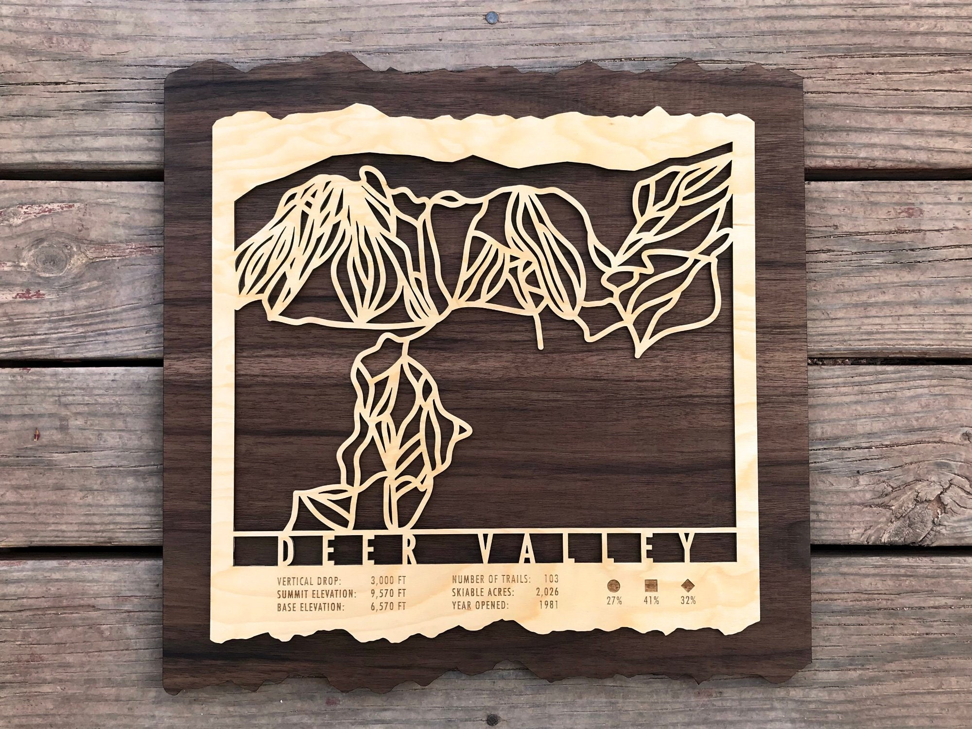 Deer Valley Ski Map Art - Trail Map Cut from Wood on