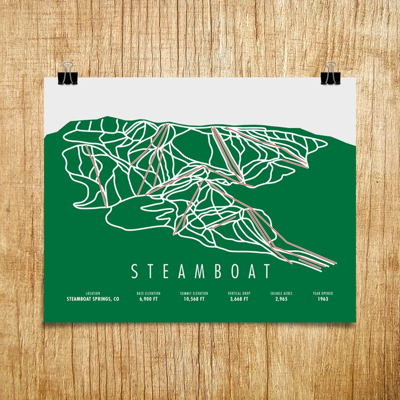 Steamboat Ski Trail Map Steamboat CO Steamboat Gift | Etsy