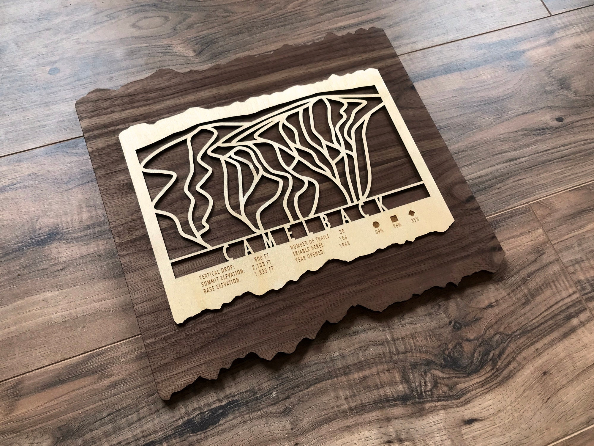 Camelback Ski Map Art - Trail Map Cut from Wood on