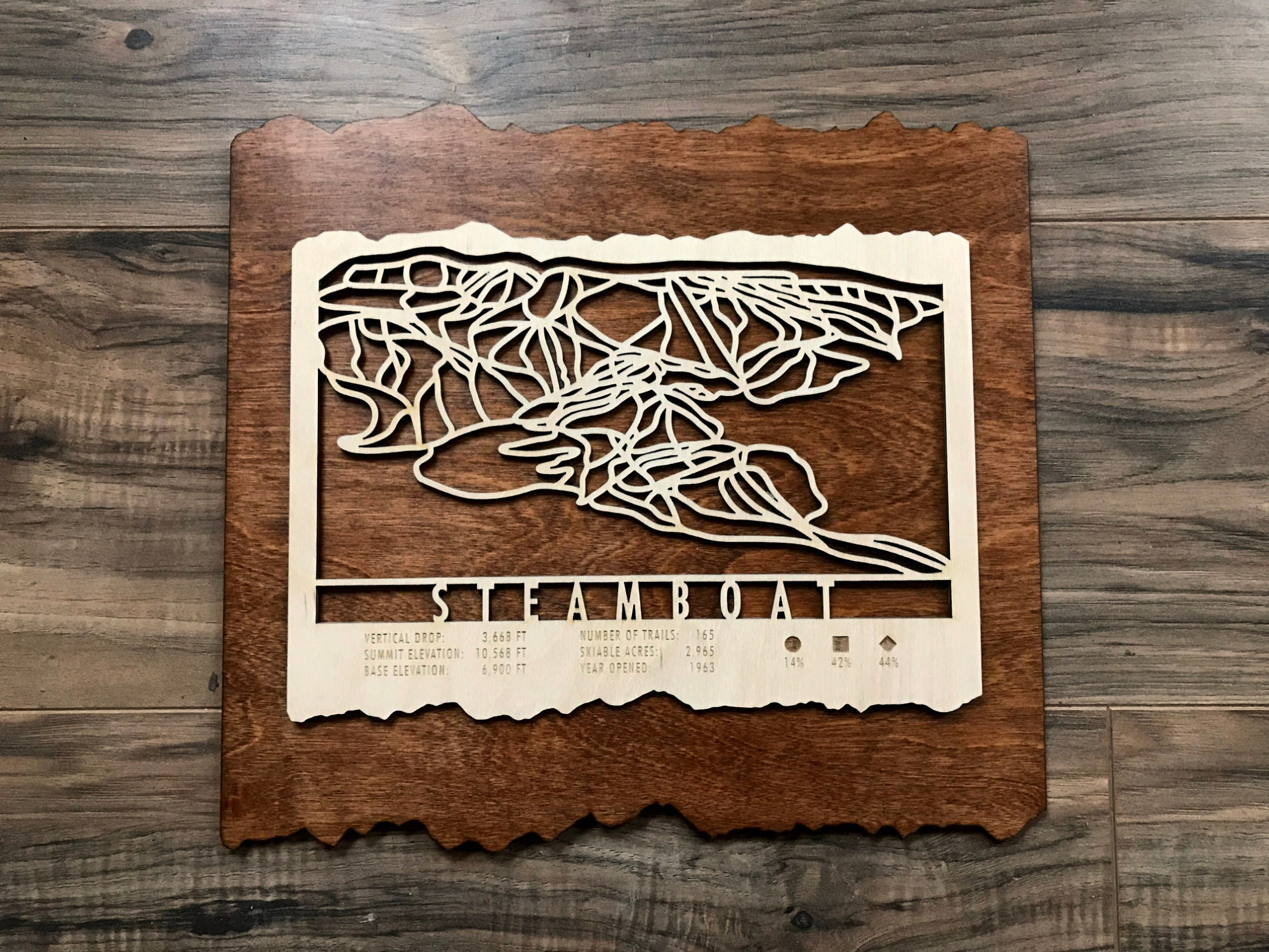 Steamboat Ski Map Art - Trail Map Cut from Wood