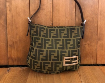 Authentic FENDI Zucca Brown Jacquard Mini Handbag Pouch 6127d002a9a2c