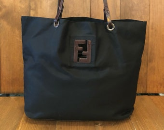 Authentic FENDI Black Nylon Tote Bag 1852a064daf58