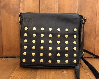 52625c306f Authentic GIANNI VERSACE Couture Black Leather Medusa Crossbody Bag Mens