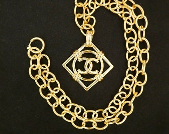 ae68803f1d Authentic CHANEL Gold Plated CC Charm Chain Necklace