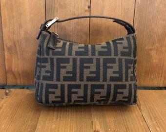 ee6cbb93b0ab Authentic FENDI Brown Zucca Jacquard Pouch Handbag SHW
