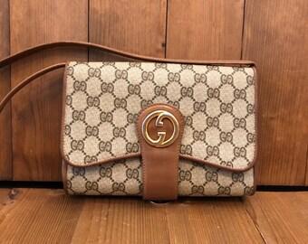 d6649f63e Authentic GUCCI GG Brown Monogram Canvas Shoulder Bag