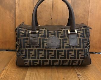 c27a631e5414 Authentic FENDI Brown Zucca Jacquard Boston Handbag