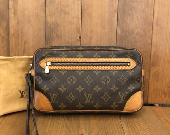 980f36ab372f Authentic LOUIS VUITTON Monogram Marly Dragonne Clutch Bag (Pockets  Re-Lined)