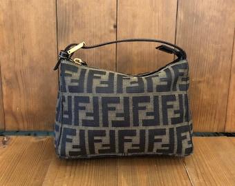 6f3faf535c91 Authentic FENDI Brown Zucca Jacquard Pouch Handbag GHW