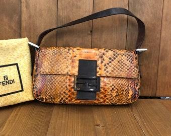 c6f9454404f7 Authentic FENDI Python Baguette Handbag
