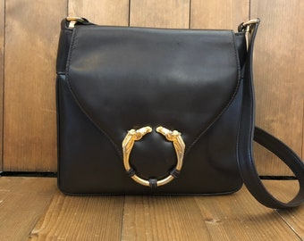 0e05b56fe47 Authentic GUCCI Brown Leather Equestrian Shoulder Bag