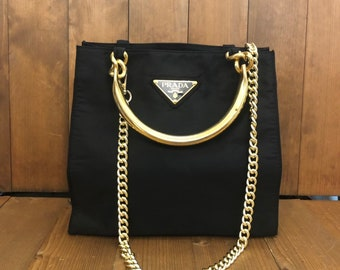 7b331b2cfd Authentic PRADA Black Nylon Tote with Gold Handles (Complimentary Chain)