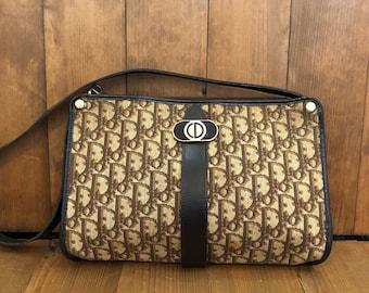 7e36f7256379 Authentic CHRISTIAN DIOR Brown Trotter Shoulder Bag