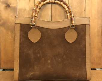 a44ba1b46 Authentic GUCCI Bamboo Brown Suede Leather Tote (Re-Lined) Princess Diana  Tote