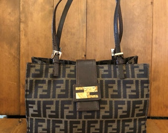 Authentic FENDI Zucca Brown Jacquard Tote Hand Bag 71cd613c7d286