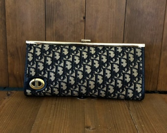 d7a5cdf842 Authentic CHRISTIAN DIOR Navy Jacquard Trotter Evening Clutch Bag Large