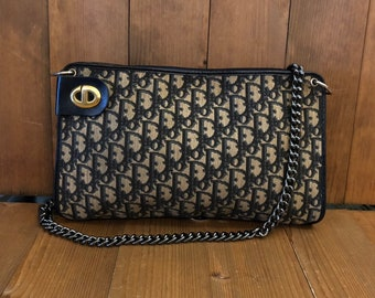 1054f3e58 Authentic CHRISTIAN DIOR Navy Trotter Shoulder Crossbody Bag (Replacement  Chain)