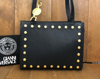 Authentic GIANNI VERSACE Couture Iconic Black Leather Crossbody Bag with  Gold Medusa 561d6f2836387