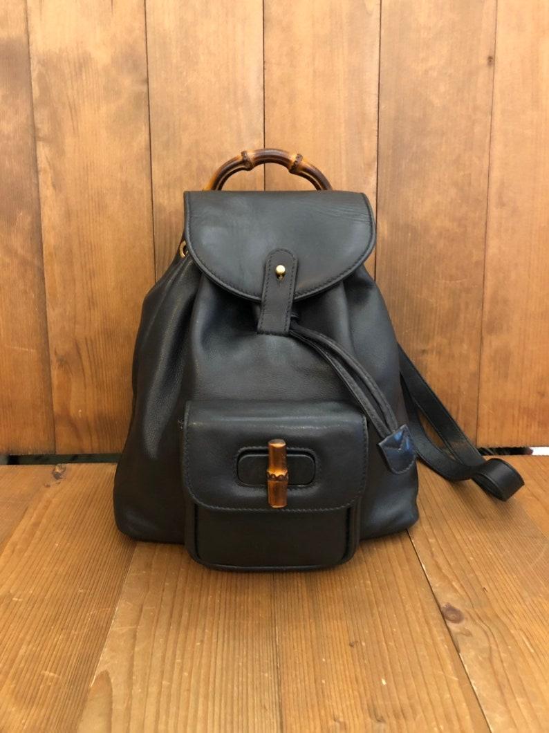 8f4ac868728 Authentic GUCCI Bamboo Black Calf Leather Mini Backpack