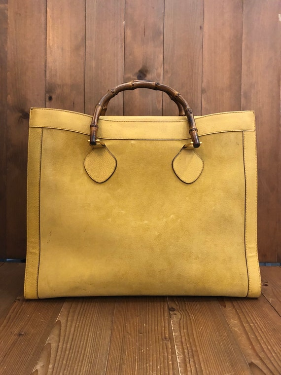 Authentic GUCCI Bamboo Yellow Suede Tote Princess