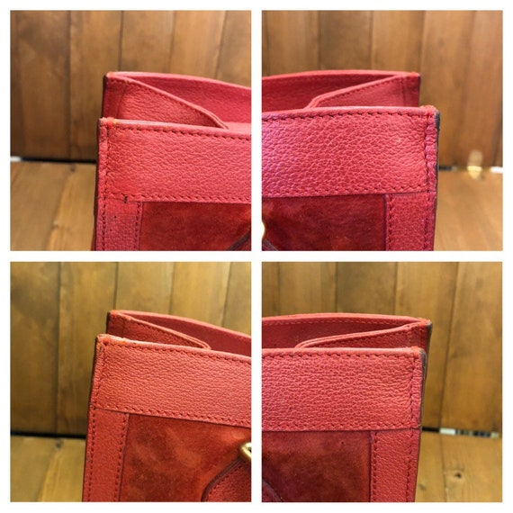 Authentic GUCCI Red Suede Leather Bamboo Tote Pri… - image 4
