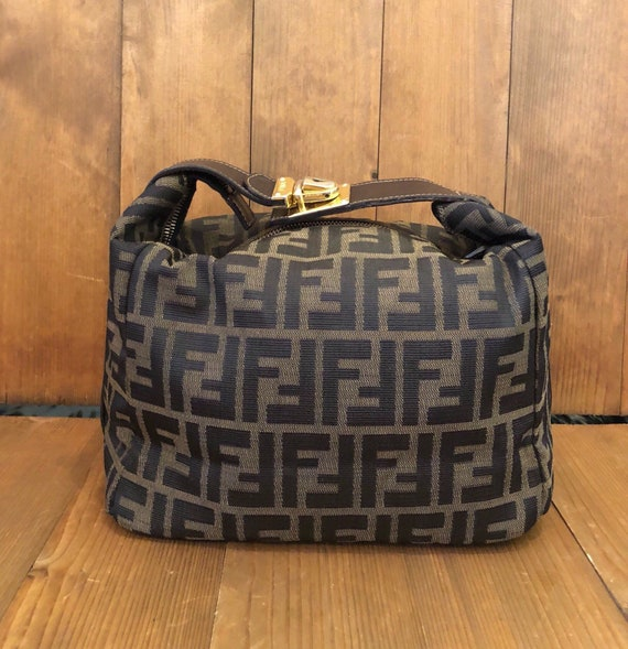 d4858849021 ... coupon code authentic fendi zucca brown jacquard cosmetic hand carry bag  etsy 2669f b31fa ...