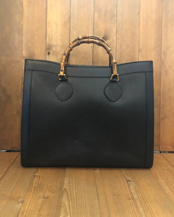 Authentic GUCCI Bamboo Black Leather Tote (Re-Line