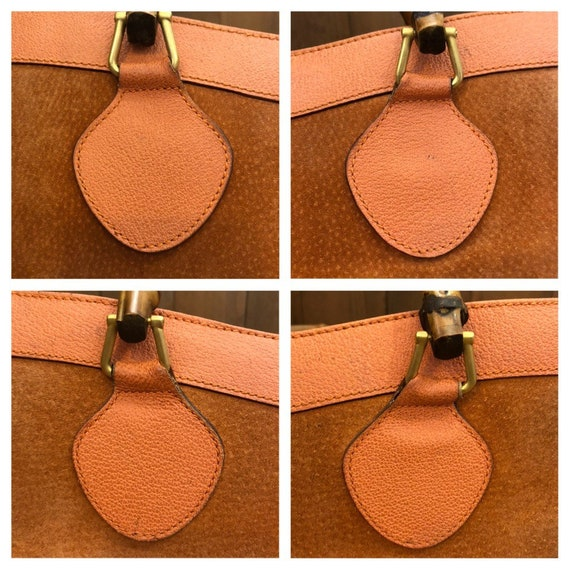 Authentic GUCCI Orange Suede Leather Bamboo Tote … - image 4