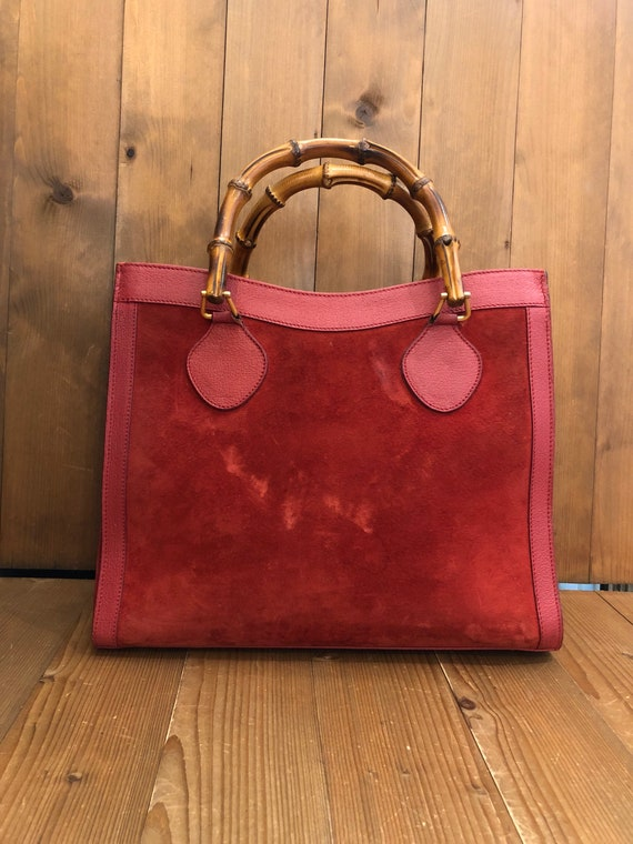 Authentic GUCCI Red Suede Leather Bamboo Tote Pri… - image 2