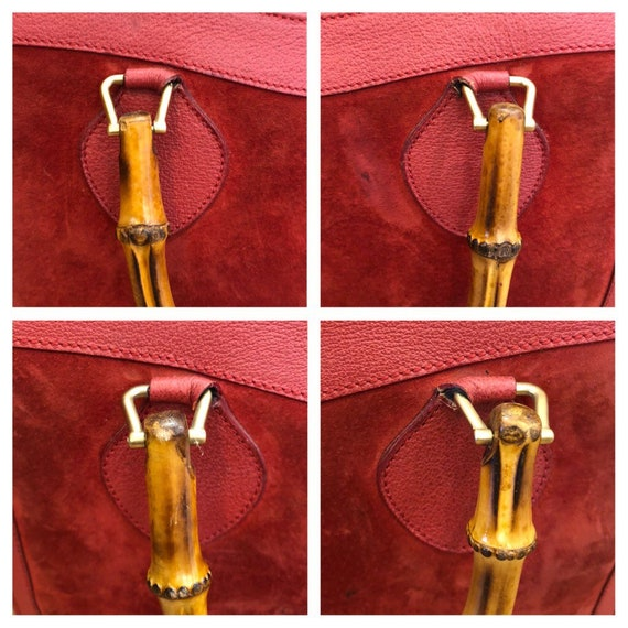 Authentic GUCCI Red Suede Leather Bamboo Tote Pri… - image 3