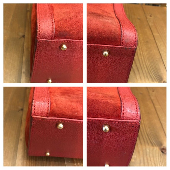 Authentic GUCCI Red Suede Leather Bamboo Tote Pri… - image 8