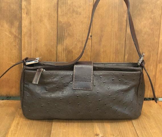 94465157f5de Authentic FENDI Brown Ostrich Leather Baguette Handbag