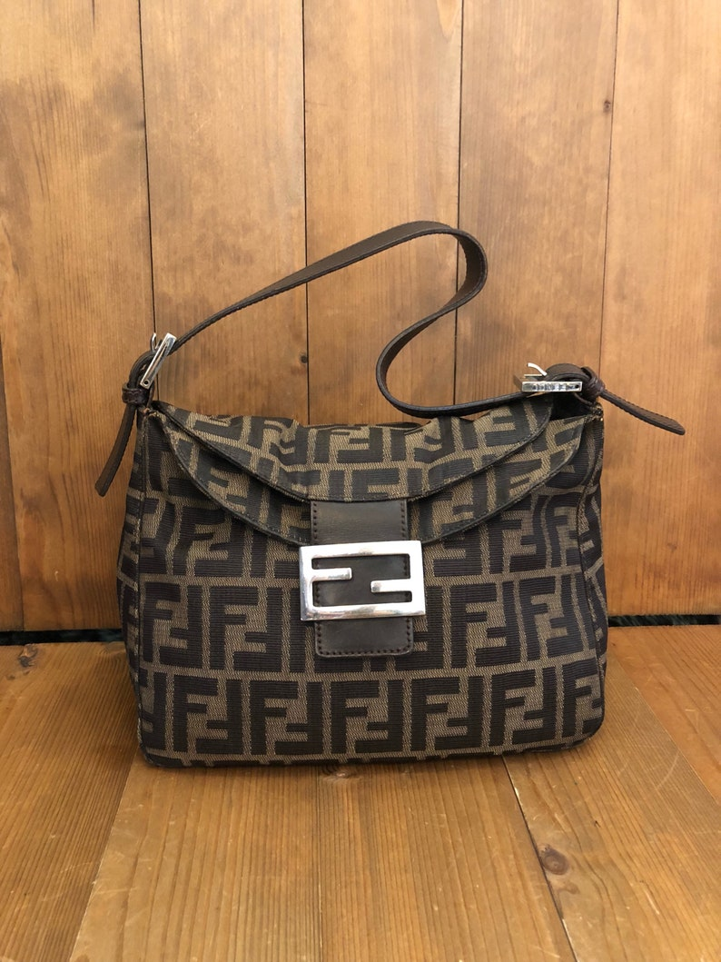 Authentic FENDI Zucca Brown Jacquard Tote Bag  254fa4f1cb0b9