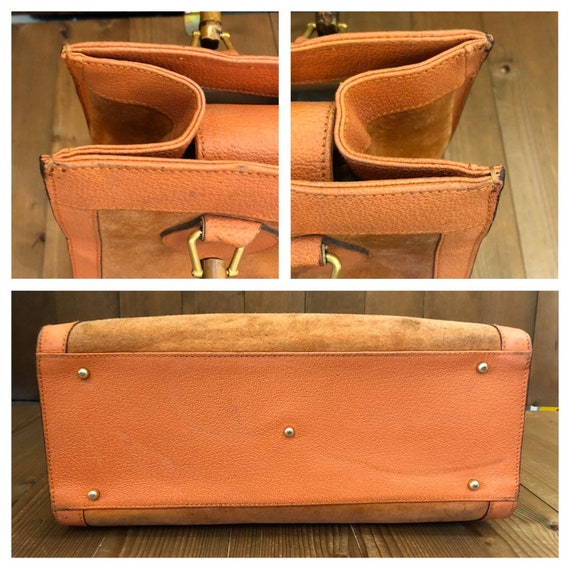 Authentic GUCCI Orange Suede Leather Bamboo Tote … - image 3